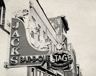 nashville photography, broadway street, man cave decor, rustic decor, black and white, tennessee art, bar art, kitchen decor