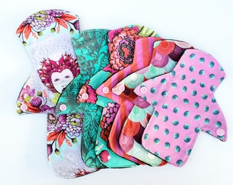 Lucy and Mabs Elizabeth Mama Cloth Reusable Pads/ Starter Set of Six