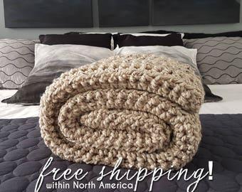 Oatmeal Chunky Knit Blanket, Crochet Blanket, Throw Blanket, Oatmeal Crochet Throw, Bulky Crochet Blanket