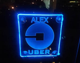 Uber New logo Custom engraving sign Acrylic engraving  with AA Controller light 3 mode