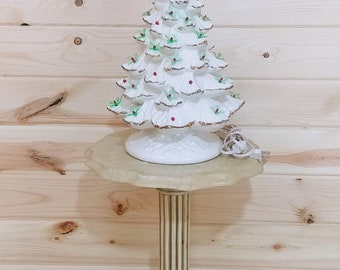 """Vintage White and Gold 17"""" Ceramic Christmas Tree"""