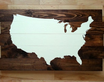 United States Map Wood Sign