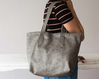 Leather grey tote shoulder bag, raw edge leather purse shopper bag womens large market bag unlined leather tote  - Calisto bag