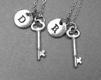 Key necklace, best friend necklace, skeleton key necklace, key charm, love necklace, friendship jewelry, personalized, initial necklace