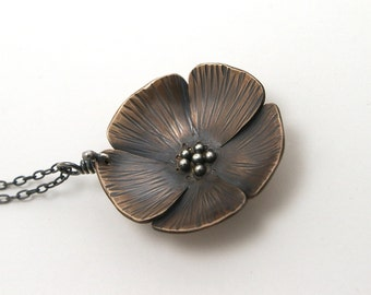 Oriental Poppy bronze and sterling silver hammered blossom pendant - made to order