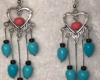 Long heart dangles with blue black and pink beads and stones