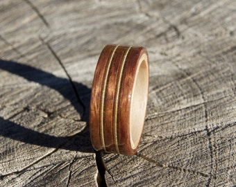 Handmade Bubinga and Maple Bentwood Ring with Double Guitar String Inlay