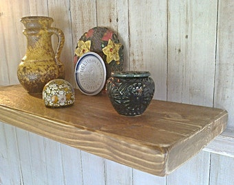 "Floating Shelves, Wall Shelves, Pine Wood  - 9"" Deep - Shabby Oak - Waxed ..."