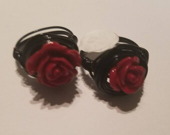 Red Rosette Wirewrapped ring