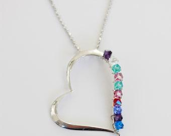 Birthstone Necklace . Grandchildren Necklace . Mothers Day Gift . Grandmother Gift, Silver Heart Pendant w/Swarovski crystals, Mom, Grandma,