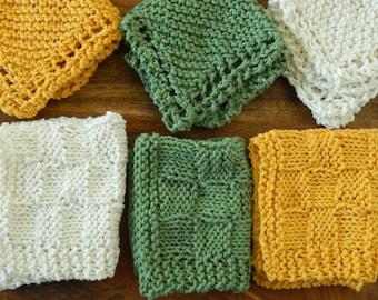 Knit Cotton Washcloth Set -Knit Cotton Dishcloth Set -Green Dishcloth -Yellow Dishcloth -White Dishcloth -Knit Cotton Dishtowel Set