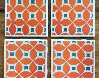 Mid Century Modern Retro Orange and Gray Pattern