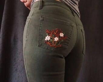 Embroidered Green/Gray Jeans