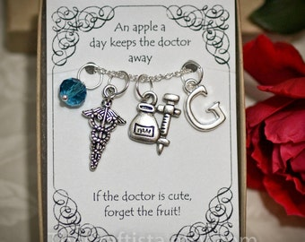 Personalized Doctor Necklace With Birthstone and Initial - DR2 - Personalized Doctor's Gift -- Caduceus Charm -- Syringe Charm