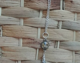 Handmade tassel necklace with amber colored pendant on 30 inch long silver chain, mother's day gift, gifts for her
