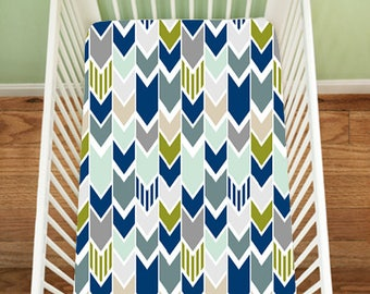 Gone Fishing, Chevron Fitted Sheet, Fishing Bedding, Fitted Crib Sheet, Nautical, Changing Pad Cover