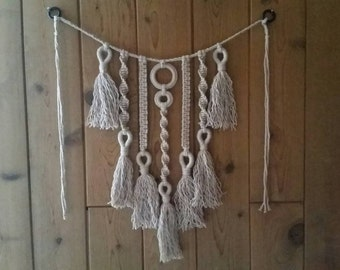 Small light brown macrame wall or window hanging