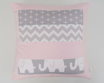 Pink and Grey Elephant patchwork cushion cover for Nursery or Lounge