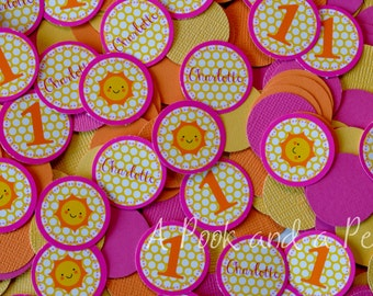 You are my Sunshine Personalized Birthday Confetti in Orange, Pink, and Yellow