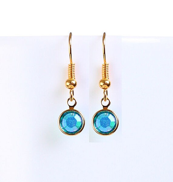 Bridesmaid gift - Petite blue zircon AB austrian crystal round gold dangle earrings (699)