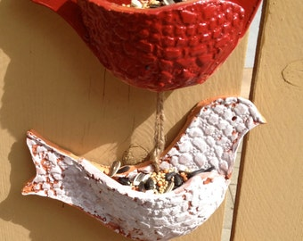 Patriotic  3 Bird Ceramic Feeder / Wall Pocket . Handmade with  Terra Cotta Red Clay
