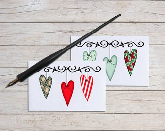 Gift Enclosure Cards, Note Card Set, Christmas Notecards, Mini Thank You Cards, Blank Cards, Primitive Heart Print, Unique Cards, Set of 10