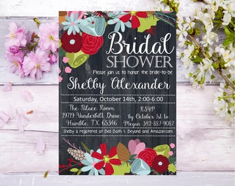 Floral Bridal Shower Colorful floral black background Baby Shower invitation invite elegant rustic country farm flowers red blue white Bride