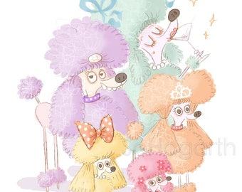 """Pastel Poodles. 8x11"""" Matte Paper Art Print, signed"""
