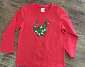 Size 5 red long sleeved dinosaur appliqué top