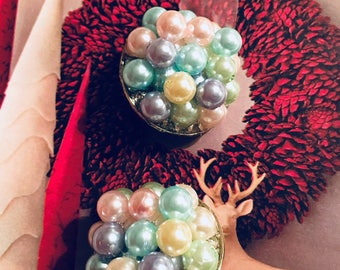 Multicolored Pearl Clip-on Earrings