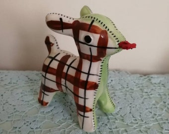 Vintage kitsch rare green and red gingham deer tape measure ornament