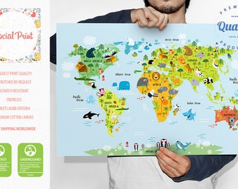 Animal world map canvas print free shipping for kids and personalized childrens world map poster print free shipping baby gift nursery world map gumiabroncs Choice Image