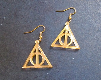 Harry Potter Deathly Hollows Symbol Cosplay Golden Lightweight Earrings