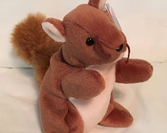 TY Beanie Baby - NUTS the Squirrel - Pristine with Mint Tags - PE Pellets - Retired