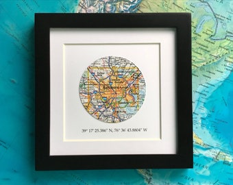 Framed Map with GPS Coordinates - Customized Map Gift - 5x5 Frame - Engagement Gift - Latitude Longitude - Graduation Gift - Gallery Wall
