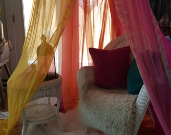 Bohemian Canopy - Bedroom, Chair, Glamping, Festival, Garden, Reading Nook, Meditation, Quiet Space, Study, Dorm, StageSet, Backdrop