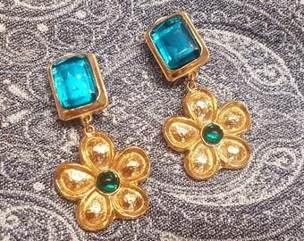 Kenzo Flower Earrings Clip On Green Gold Signed