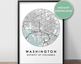 Washington DC City Print Instant Download, Street Map Art, Washington Map Print, City Map Wall Art, Washington Map, Travel Poster, USA,