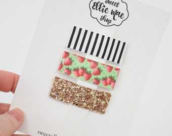 B&W Stripe, Strawberry Patch, Antique Gold | Faux Leather and Glitter Snap Clips