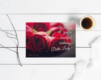Flat greeting card etsy happy birthday delta lady greeting card set delta sigma theta inspired flat cards m4hsunfo Image collections
