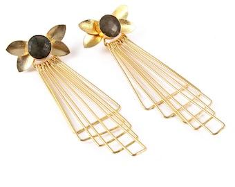 Labradorite brass earring