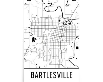 Bartlesville Map, Bartlesville Art, Bartlesville Print, Bartlesville OK Poster, Bartlesville Wall Art, Map of Bartlesville, Decor, Gift, Map