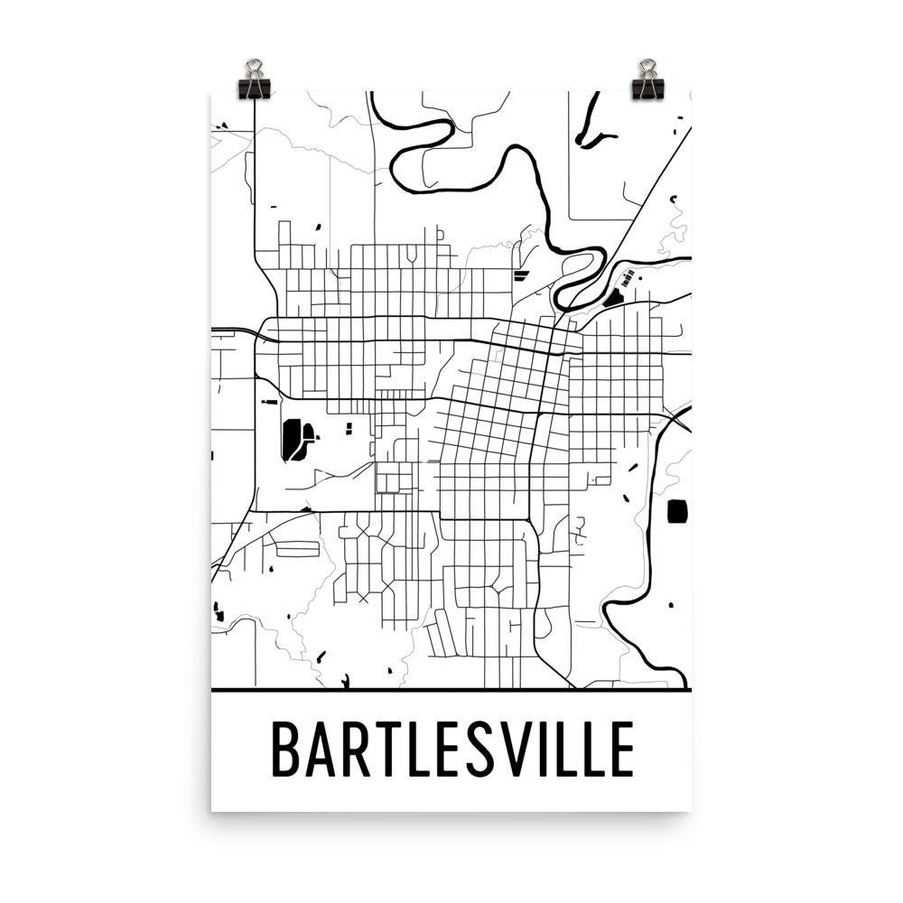 Bartlesville Map Bartlesville Art Bartlesville Print