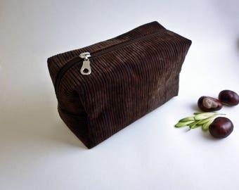 Chocolate bag, Dopp Kit / Shave Bag / Toiletry Bag / Cosmetic Bag / Travel Bag / Groomsman Gift / Christmas Gift / Mens Gift