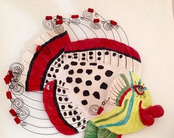 Ceramic Stoneware Fish Wall Sculpture Queen Coris Home Decor Made to Order