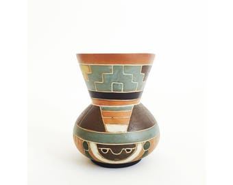 Vintage Handmade Mexican Pottery Vase