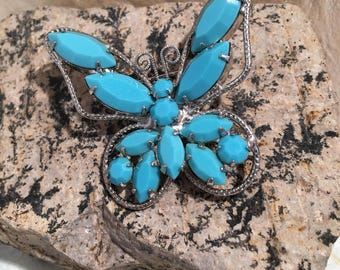 Boho Turquroise and Silver Butterfly Brooch