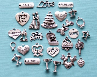 Deluxe Wedding Charm Collection Antique  Silver Tone 28 Charms - COL332