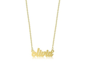 14K Solid Yellow Gold Personalized Custom Cursive Name Pendant Rolo Chain Necklace Set - Alphabet Letter Charm