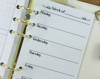 Personal Week on One Page printed planner insert - Wo1P - weekly pages - undated - graph paper - this week - Personal Wide